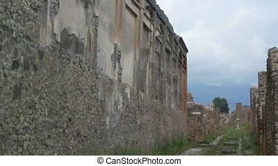 Pompeii, ITALY - SEPTEMBER 5, 2016. Stone streets of Pompeii