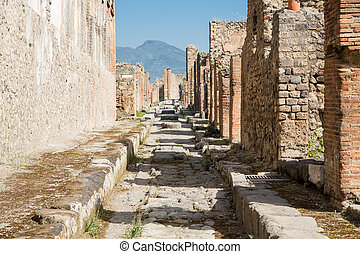 Pompeii Street with Vesuvius in Background