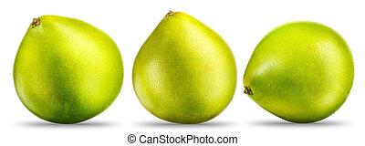pompelmoes, witte , fruit, vrijstaand, verzameling