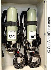 pompen, vuur, op, de, faciliteit, de, olie, base., industrieel vuur, doven, systeem