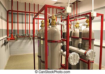 pompen, vuur, op, de, faciliteit, de, olie, base., industrieel vuur