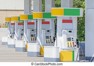 pompes, couleurs, marquer, carburant, changed, enlevé, rang