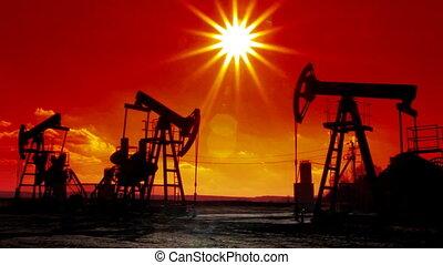 pompes, huile, silhouette, fonctionnement