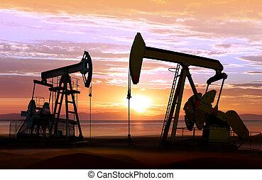 pompes huile, sur, coucher soleil