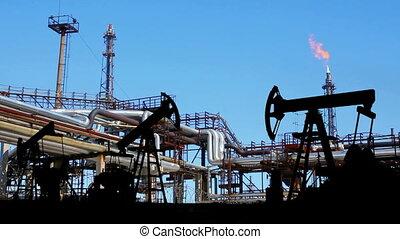 pompes, pétrochimique, silhouette, usine, huile