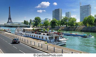 Quay Voie George Pompidou and Allee des Cygnes on river Seine in Paris, France.
