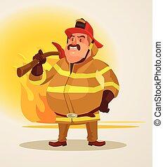 pompier, à, hache