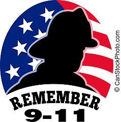 pompier, 9-11, américain, pompier