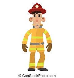 pompier, caractère, dessin animé