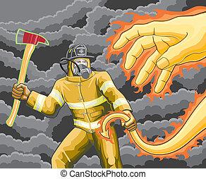 pompier, combats, brûler, démon