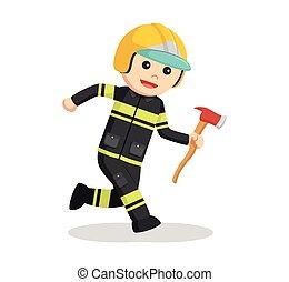 pompier, courant, à, hache