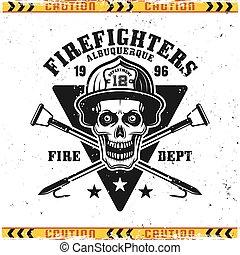pompier, crâne, emblème, vecteur, pompiers