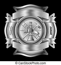 pompier, croix, argent