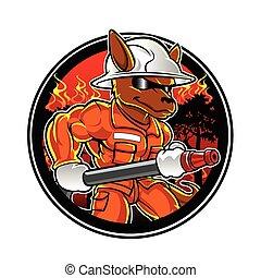 pompier, dessin animé, kangourou