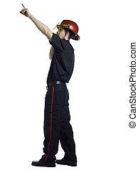 pompier, haut, pointage