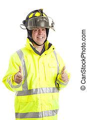 pompier, -, haut, pouces, deux