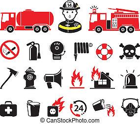 pompier, icônes