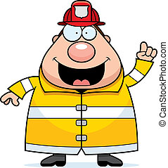 pompier, idée, dessin animé