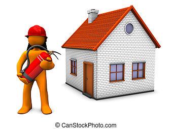 pompier, maison