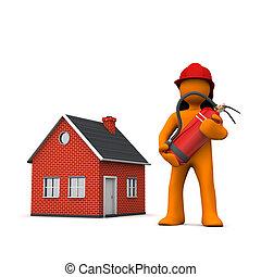 pompier, maison, extincteur