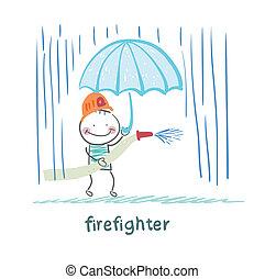 pompier, parapluie, stands, pluie