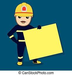 pompier, projection, a, vide, bannière