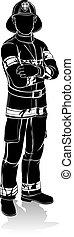 pompier, silhouette