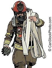 pompier, tuyau, brûler