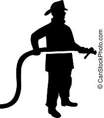 pompier, tuyau, silhouette