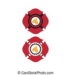 pompier, vecteur, logo, coutume, maltais, conception, symbole, croix
