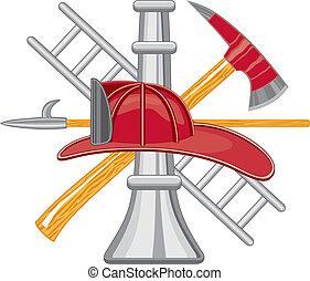 pompiere, attrezzi, logotipo