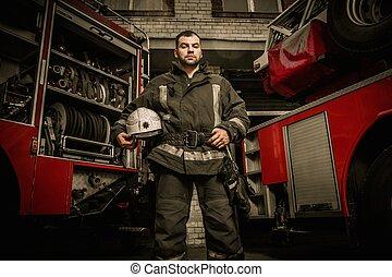 pompiere, camion, allegro, apparecchiatura