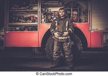 pompiere, camion, apparecchiatura