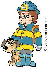 pompiere, cane