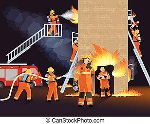 pompiere, concetto, disegno, persone