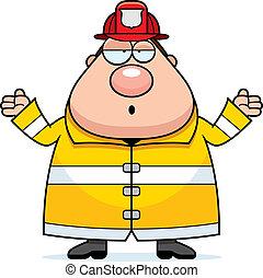 pompiere, confuso, cartone animato