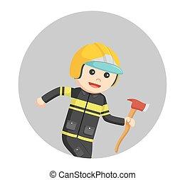 pompiere, correndo, con, ascia, in, cerchio, fondo