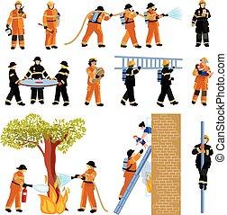 pompiere, icone, colorare, persone, set, appartamento