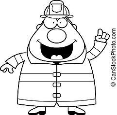 pompiere, idea, cartone animato