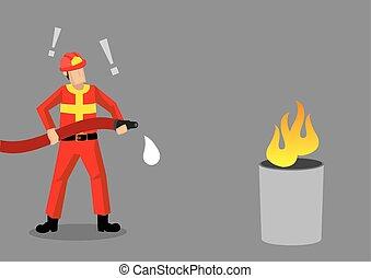 pompiere, illustrazione, vettore, fallire, epico, cartone animato