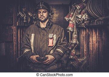 pompiere, magazzino, tubo gomma incendio, stanza