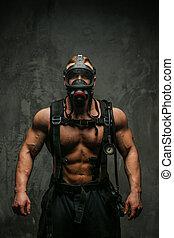 pompiere, maschera, muscolare, ossigeno