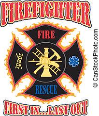 pompiere, primo, in, disegno