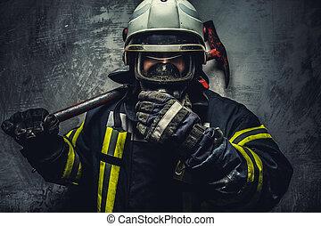 pompiere, salvataggio, uniform., uomo