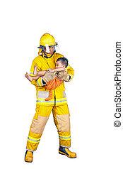 pompiere, salvato, isolato, fuoco, pompiere, bambino, bianco
