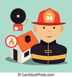 Capelli fiammeggiante cartone animato rosso vettore eps for Piani di caverna di garage uomo