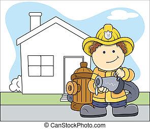 pompiere, vettore, carattere, salvataggio