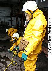 pompieri, chimico, completo, protezione