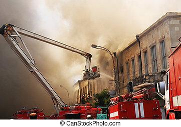 pompiers, brûler, citycenter