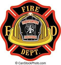 pompiers, croix, volontaire, jaune, casque